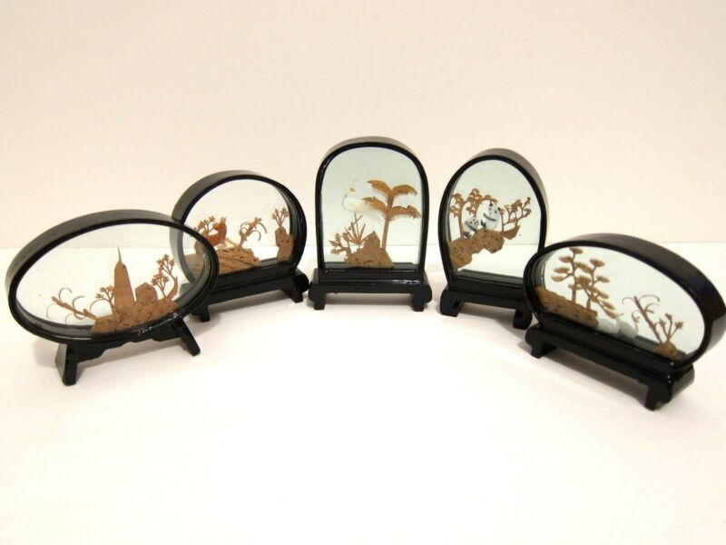 New Set of 5 Chinese mini Cork Art Display Pheasant Swan Panda Deer Pagoda
