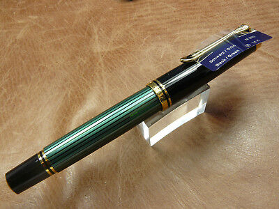 PELIKAN M600 SOUVERAN BLACK/GREEN FOUNTAIN PEN 14K GOLD FINE NIB