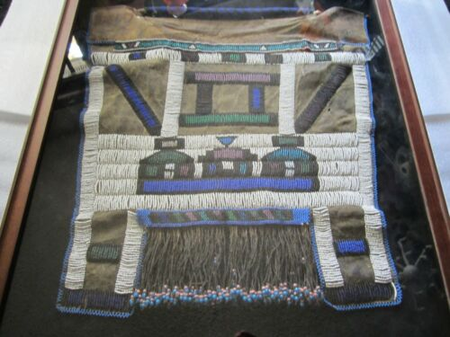 Original Vintage Nbebele Mapoto South Africa Beaded Rawhide Apron w Display Case