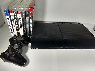 Sony Playstation 3 Super Slim 500GB Black PS3 Console Bundle 7 Games GTA MLB