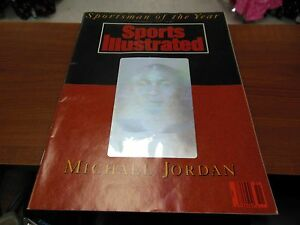 SPORTS-ILLUSTRATED-1991-HOFER-MICHAEL-JORDAN-SPORTSMAN-COVER-MAGAZINE-RARE-HOLOG