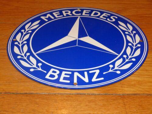 """VINTAGE MERCEDES BENZ LUXURY CAR 12"""" PORCELAIN METAL TRUCK SUV GASOLINE OIL SIGN"""