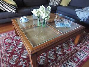 Retro Square Coffee Table Feat. Glass Inserts & Rattan Wollongong Wollongong Area Preview