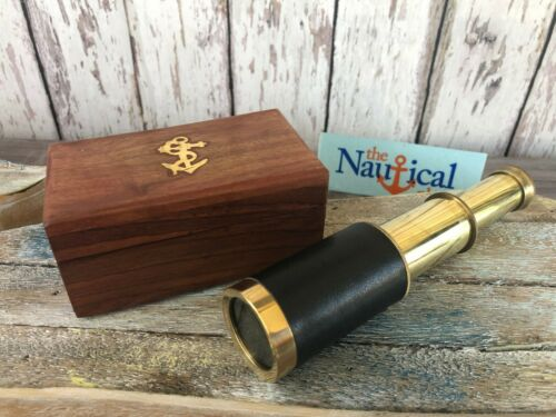 "6"" Brass Telescope w/ Leather Grip & Wooden Box ~ Nautical Spyglass Maritime"