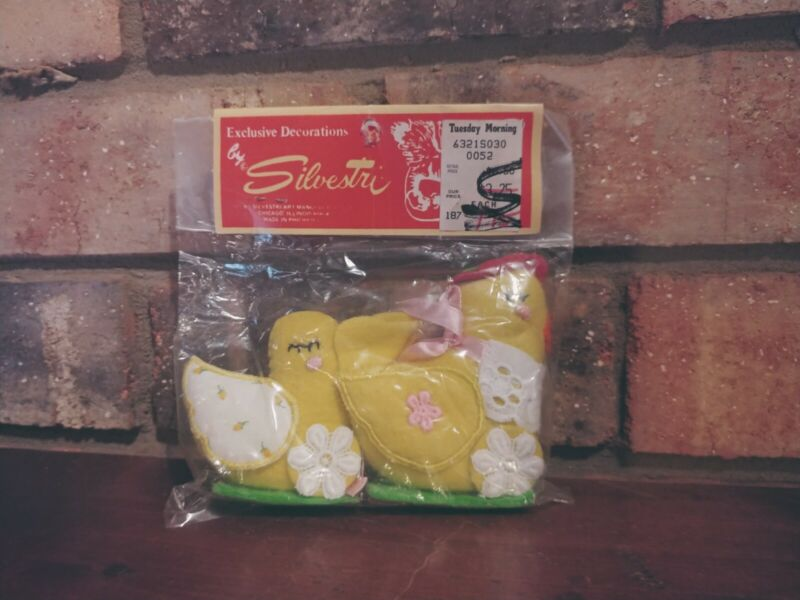 Exclusive Decorations by Silvestri Chicken with Chick. Yellow.  New in package