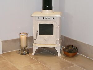 TRURO 4.5 KW CAST IRON ENAMELED MULTIFUEL WOOD BURNING STOVE CORNISH CREAM