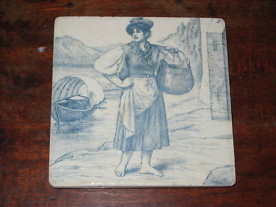 MINTON HOTPLATE TILE  WILLIAM WISE LADY BY LAKE 19TH CENTURY