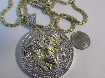 """Large Medusa Necklace Gold and 925 Silver 200 Cubics 29"""" L SAVE #983"""