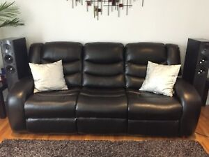 Dark brown faux leather recliner couch