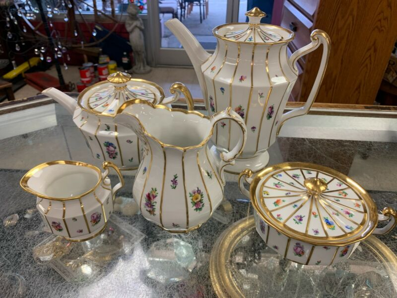 "Royal Copenhagen ""Henriette"" Coffee pot, Teapot, milk pitcher, creamer and sugar"