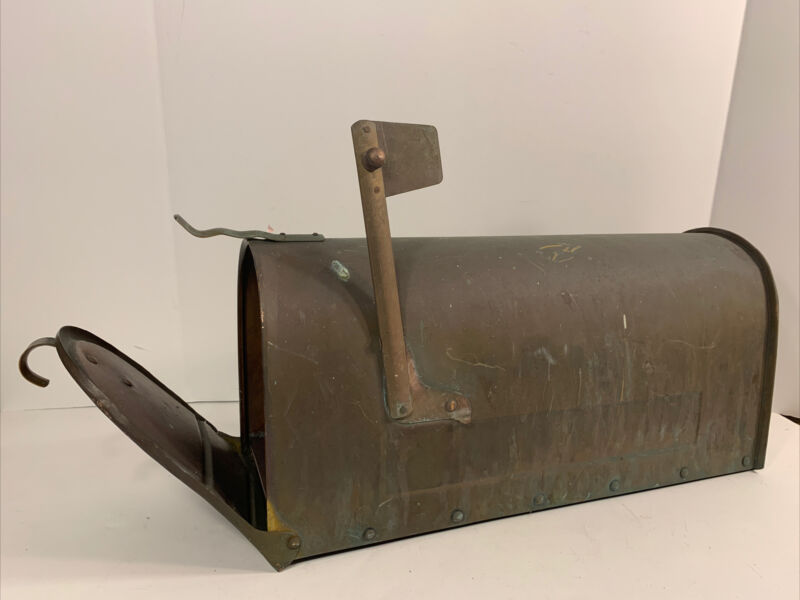 """Vintage ALL COPPER MAILBOX Excellent Patina 18.5 X 9"""""""