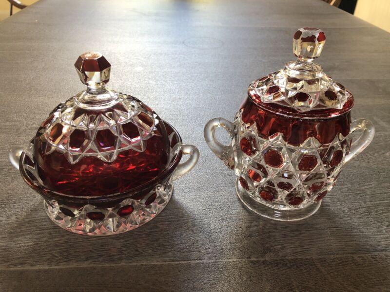 EAPG GEM Double Red Block Butter & Sugar Flint Glass COLORFUL