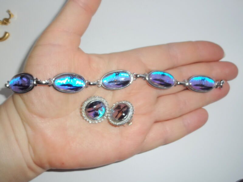 Vtg Bermuda Blue Morpho Real Butterfly Wing Palm Ocean Bracelet Earrings Set