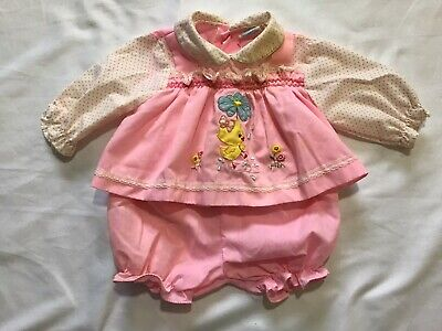 Vintage Cradle Togs Baby Girl/ Doll (2) Piece Outfit Embroidered Pink Dots 0-6 M Baby Cradle Kit