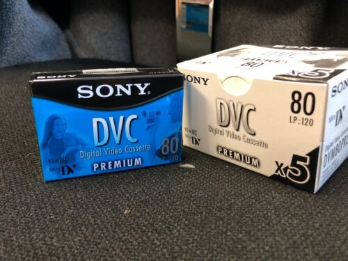 Sony DVC 80 min Mini DV, New Unopened Box of 5 sealed blank tapes 80/120 minute