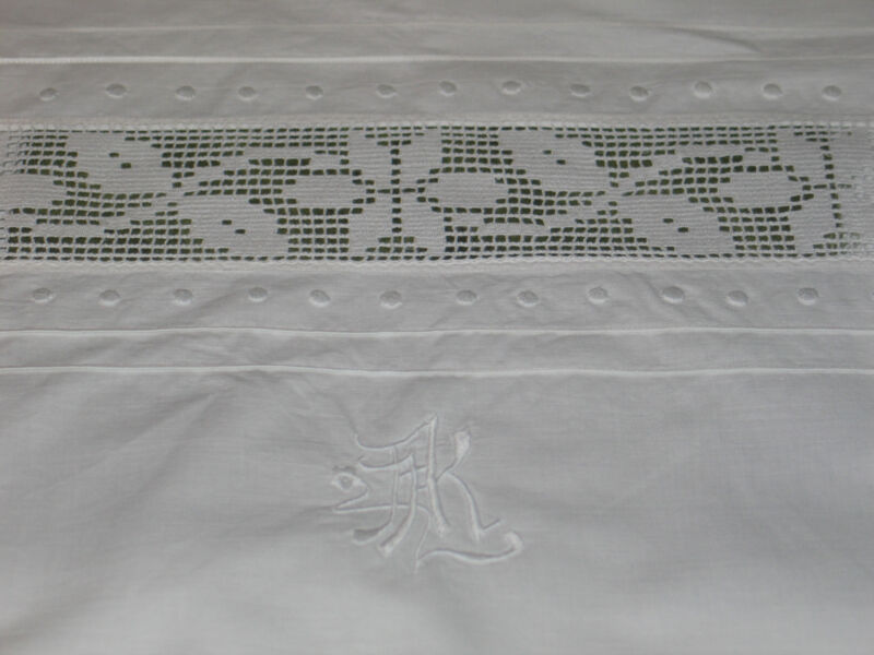"Antique c1890s PR EURO SHAMS PillowCases~Lace Insert Embroidery Monogram ""AK""-1"