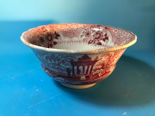 VENETIAN TEMPLE Red Transferware Deep Bowl Staffordshire England 1830