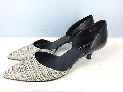 Nine West D'orsay Black White leather Women's 9 M Selena Pointed Toe Kitten Heel
