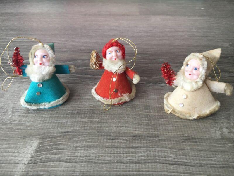 Set Of 3 Vintage Japan Mica Plastic Cotton Chenille Elf Gnome Christmas Ornament