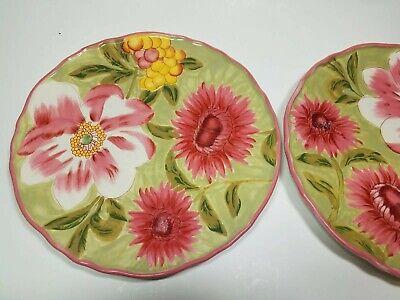2 Primavera 2009 April Cornell Dinner Plates Pink Green Flower Floral Certifed  - Pink Plates