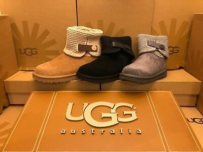 - New Womens UGG Shaina Sheepskin Suede Boot 1012534 Black Chestnut Grey Knit Tall