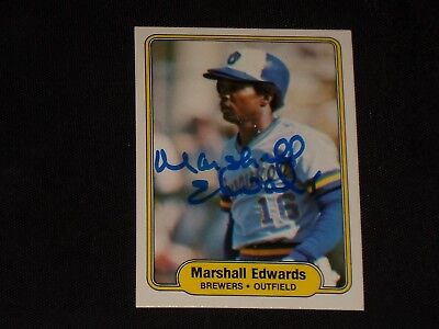 Marshall Edwards 1982 Fleer Signed Autographed Card  140 Milwaukee Brewers Tough
