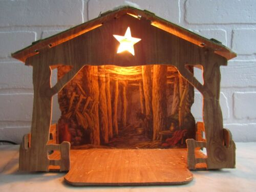 Vintage Rustic Creche for NATIVITY - Lighted Words CHRISTMAS