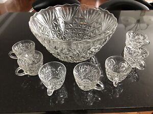 Large punch bowl and glasses