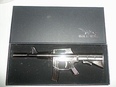 NEW  AR-15 Rifle Refillable Butane Grill & BBQ Windproof Lighter Torch GUN METAL