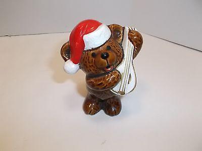 VINTAGE CERAMIC CHRISTMAS SANTA BEAR w/ MANDOLIN FIGURINE 3