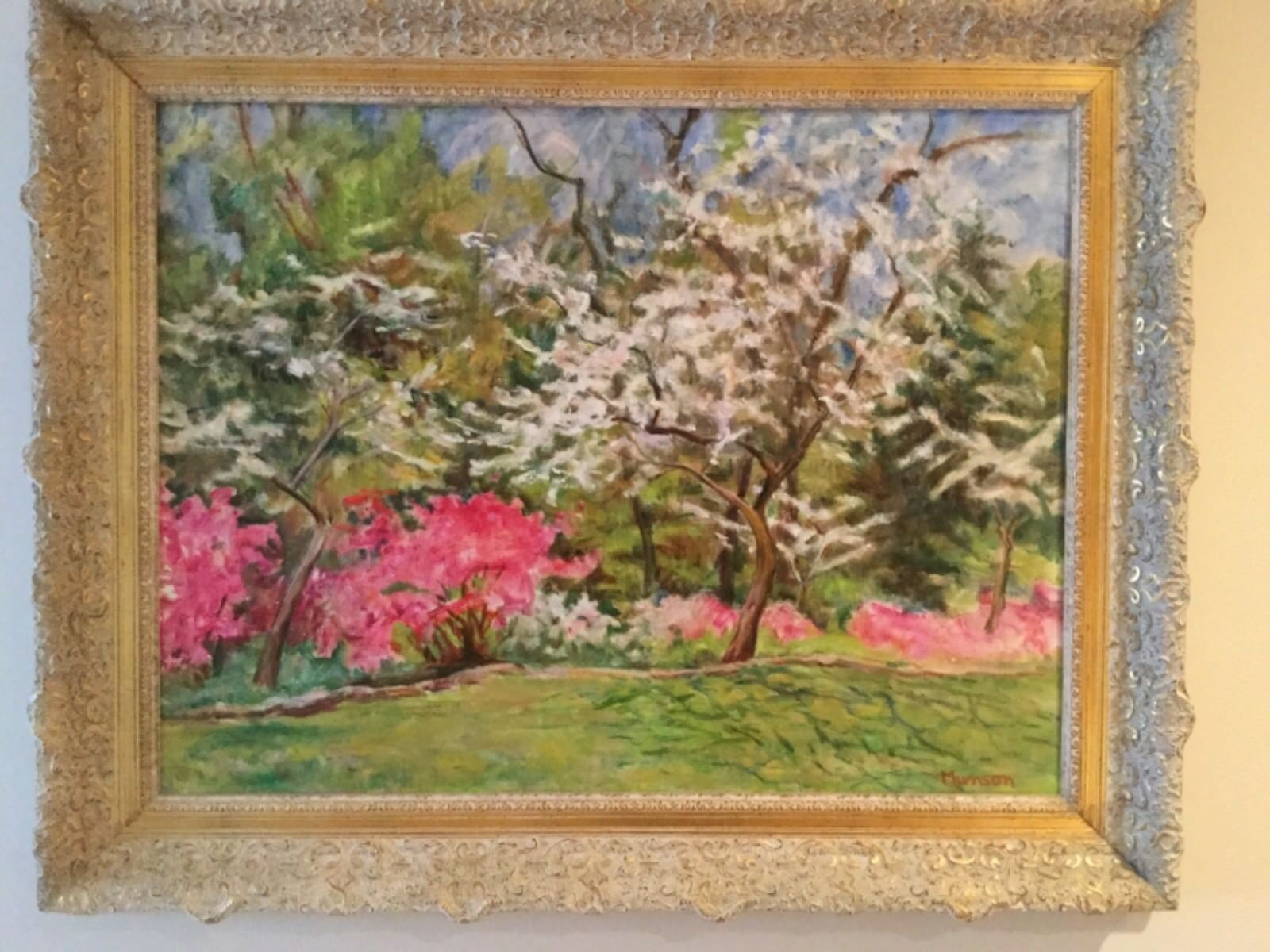 Original Oil On Canvas Of Dogwood Trees In Bloom By Texas Artist Ruth Munson - $2,835.00