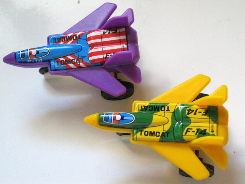 F-14 Tomcat Military Aircraft Jet Airplane Friction Toys  2 Vintage planes