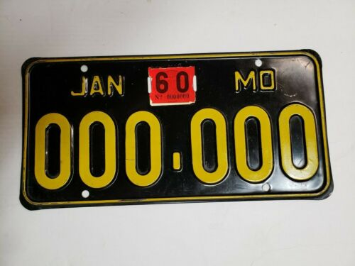 Missouri Sample License Plate 1960 -- 1956 Base Plate --