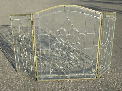 Vintage French Country Three Panel Leaded Glass Fireplace Screen ()