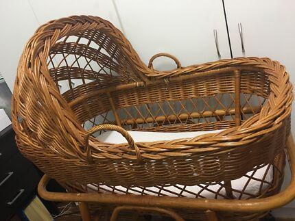 Vintage cane bassinet