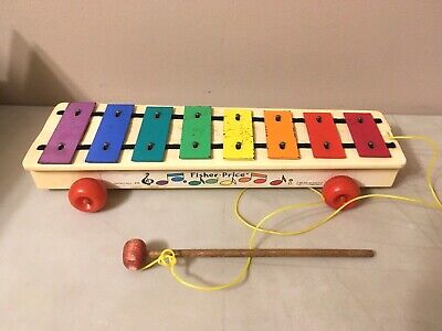 Vintage Fisher Price Xlyophone #870 Pull Toy Baby Toddler Musical Sound Toy