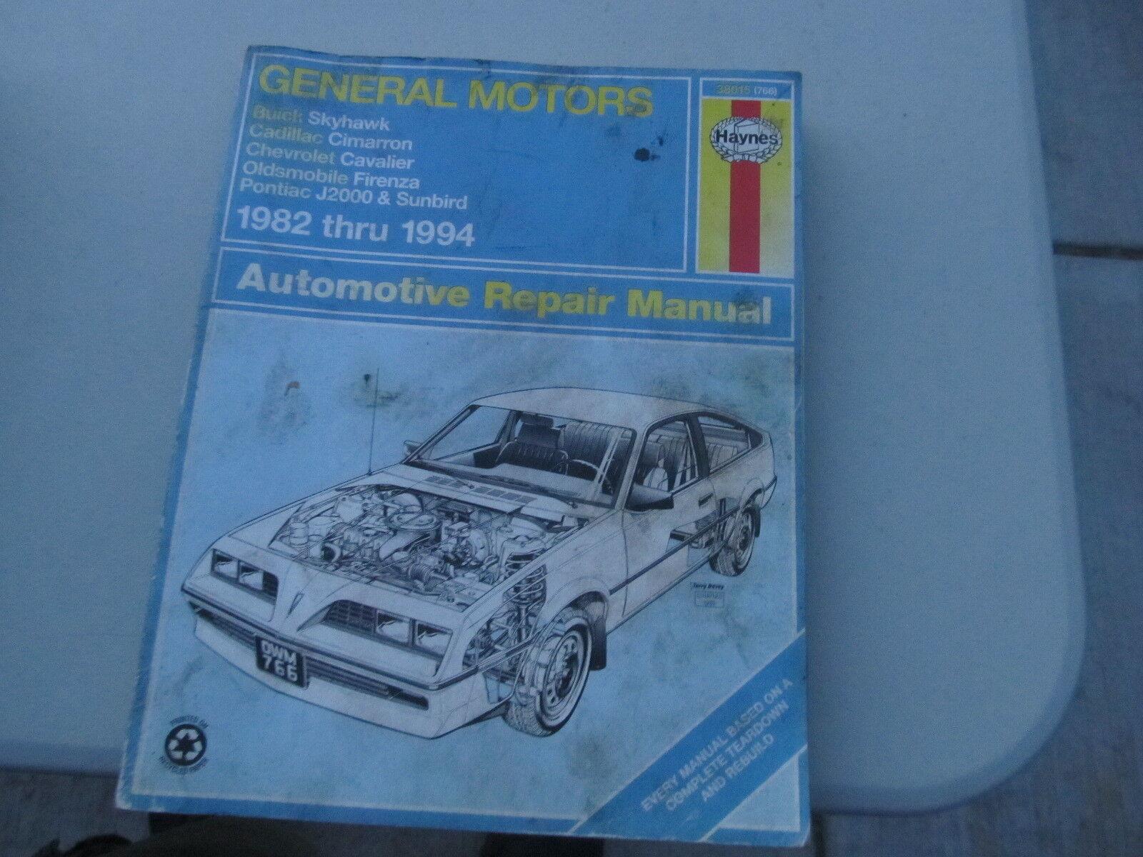 Haynes General Motors Skyhawk Cimmaron Cavalier Firenza Sunbird++ repair manual