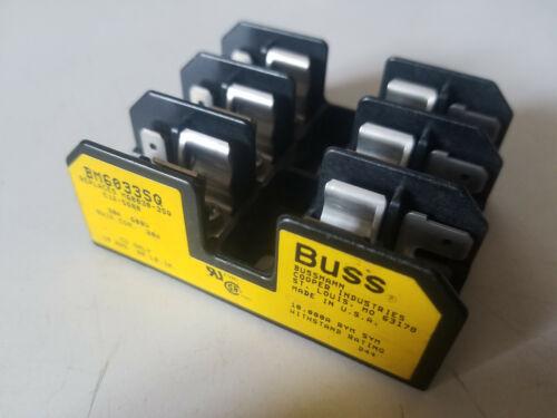 New Bussmann Fuse Block, 30 amp 600 volt, 3 Fuse Holder, BM6033SQ
