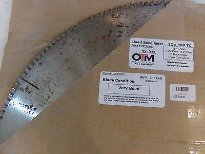 22 Saw Blade 22 X 180 Tc 1 Arbor Approx 90 Life Left Ust-b0083 - Used