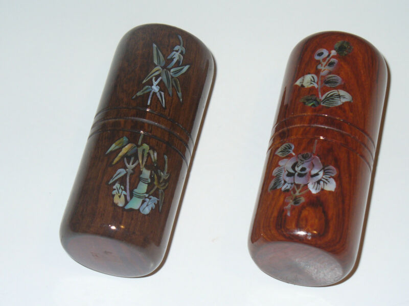 Two Handmade Wood Shakers Pearl Inlay Set Beautiful percussion set