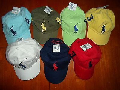 POLO RALPH LAUREN BIG PONY HATS ASSORTED COLORS ONE SIZE ADJUSTABLE (Ralph Polo Hats)