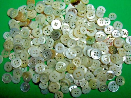 """(300+) VINTAGE +or -1/2"""" PEARL SHELL 4-HOLE CRAFT SHIRT BUTTONS 6 oz+ (PS4)"""