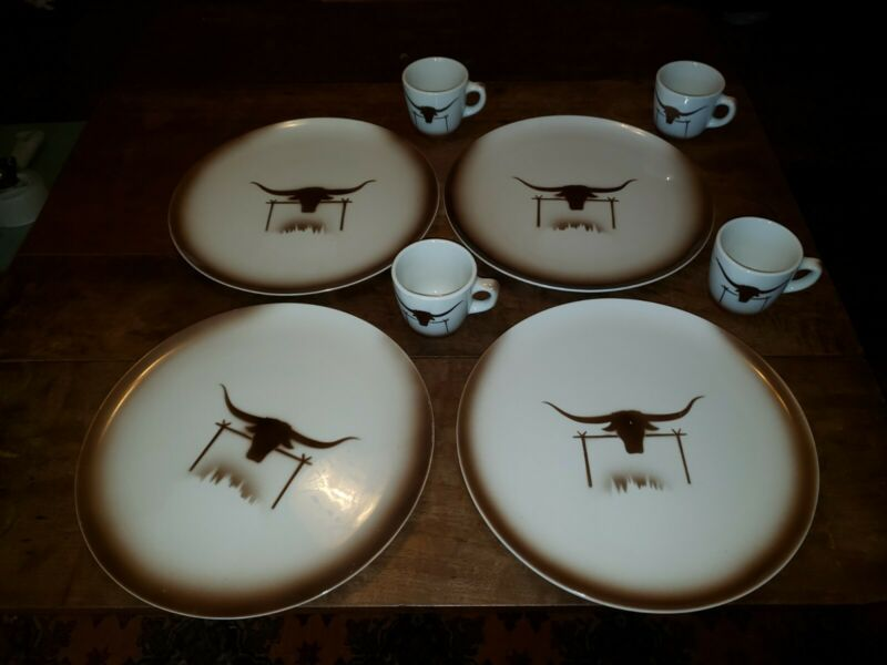 4 Vintage EMBASSY China Western Restaurant Ware TEXAS LONGHORN Chop Plates/ Mugs