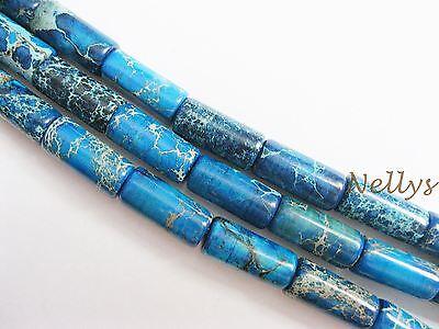 Strang Impressionen Jaspis 6x12mm blaue Röhrchen/Walzen Edelsteine Perlen Nellys