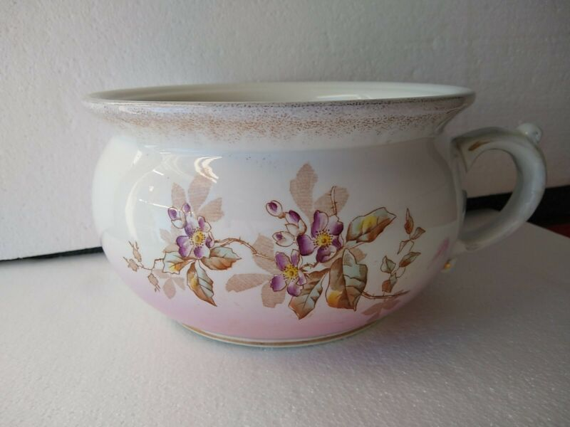 EUC ANTIQUE CHAMBER POT, Floral Semi-Porcelain JOHNSON BROS. ENGLAND