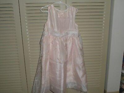 Rare Editions girls light pink organza dress, flowers in hem size 6 EUC