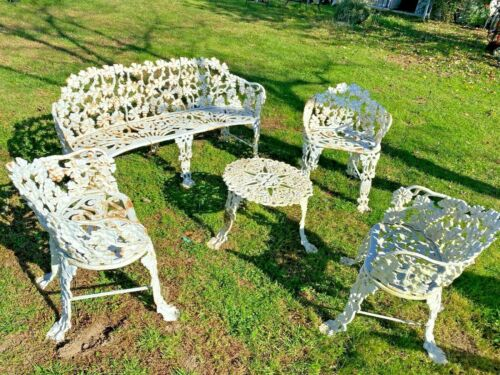 RARE Vintage Cast Iron Grape Vine Patio Garden 3-person Bench, 3 Chairs Table