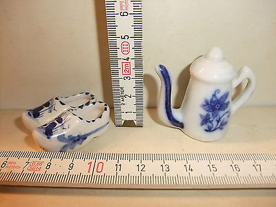 Puppenstube Kaufmannsladen Porzellan Konvolut Holländer - Pantoffeln Kaffeekanne