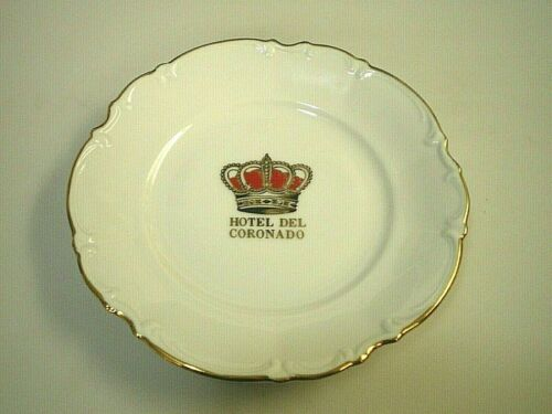 """HOTEL DEL CORONADO Villetta Hutschenreuther FINE CHINA Gold Trimmed 6-1/4"""" PLATE"""