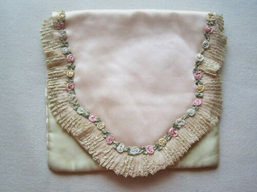 Vintage Hanky Fold Over ? Silk Fabric  Flower Rosettes Lace Millinery Doll